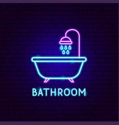 Bathroom neon label vector