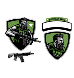 Bearded soldier mascot hold assault rifle vector
