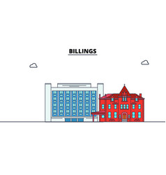 Billings united states flat landmarks vector