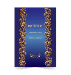 Blue invitation card wedding card with ornamental vector