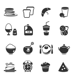 Breakfast Black Icon Set vector