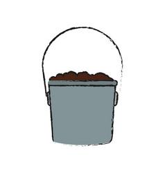Bucket with soil vector