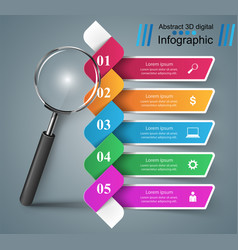 business color infographics loupe icon on the vector image
