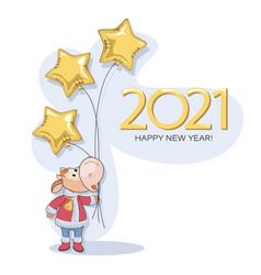 calf 2021 new years bull postcard cute little vector image