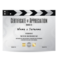 Certificate Appreciation movie slate film slate vector