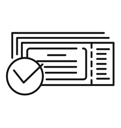 Checked online ticket icon outline style vector