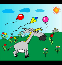 Cheerful little gray donkey walks on a green vector