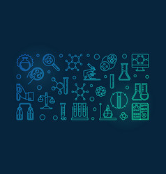 Chemistry lab equipment colorful outline vector