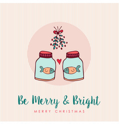 christmas funny fish in love cartoon greeting card vector image