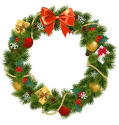 Christmas wreath with mistletoe vector