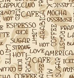 Coffee words seamless pattern vector