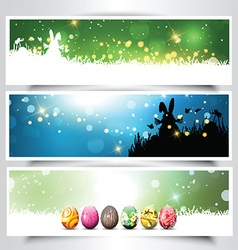Collection of Easter backgrounds vector image
