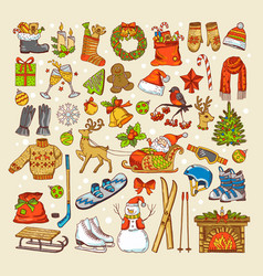 colored pictures christmas toys and specific vector image