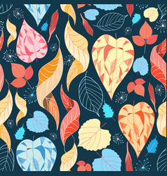 colorful autumn leaves pattern vector image