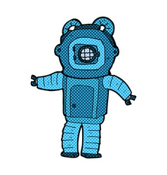 Comic cartoon deep sea diver vector