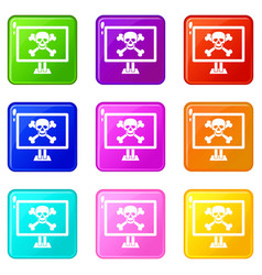 Computer monitor with a skull and bones icons vector