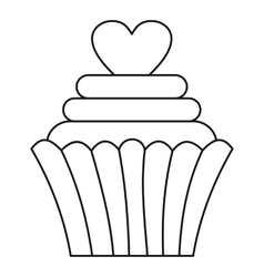 Cupcake with heart icon outline style vector