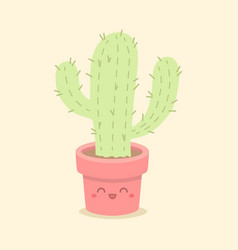 cute cactus succulent cartoon vector image