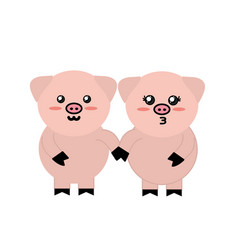 Cute couple pig wild animal with face expression vector