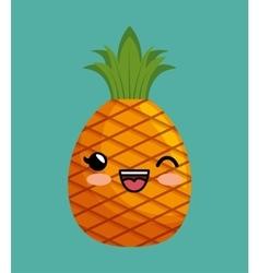 cute kawaii pineapple delicious icon design vector image