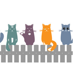 cute seamless pattern background with cats seating vector image