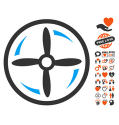 Drone screw rotation icon with lovely bonus vector