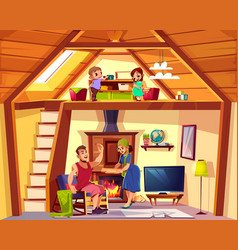 duplex cross section with happy family vector image