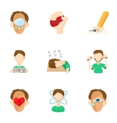 Emotional feelings icons set cartoon style vector