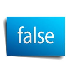 False blue paper sign on white background vector