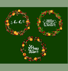 festive winter frame with lettering design vector image