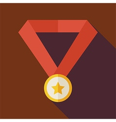 Flat Award Gold Medal with Star with long Shadow vector image