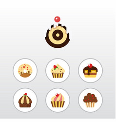 flat cake set of pastry muffin cupcake and other vector image