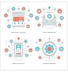 Flat line E-mail Marketing Mobile Security vector image