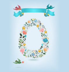 Floral letter o with blue ribbon and three doves vector
