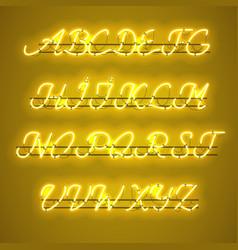 Glowing yellow neon uppercase script font vector