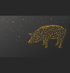 Gold pig new year made by points and lines vector