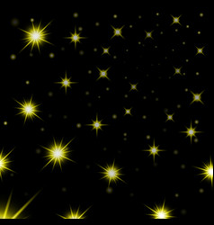 Gold stars black night sky background abstract vector