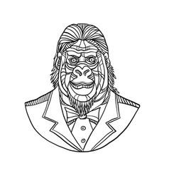 Gorilla wearing tuxedo bust monoline vector