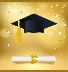 Graduate cap and diploma with falling golden vector