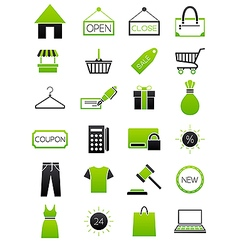 Green black shopping icons set vector