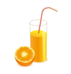 half orange and orange juice on glass vector image