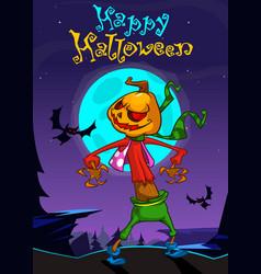 Halloween scary pumpkin head scarecrow postcard vector