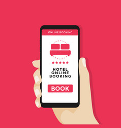 Hand holding smartphone with booking hotel button vector