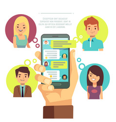 hand holding smartphone with online chat vector image