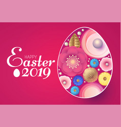 happy easter design template with colorful egg vector image