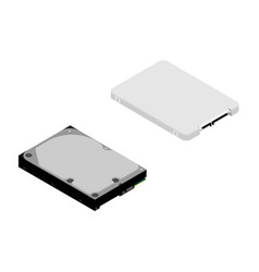 Hard disk next to ssd disk solid state drive vector