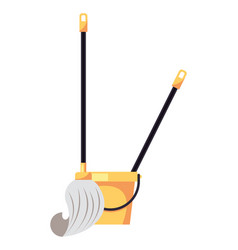 Housekepping bucket tool with mop vector