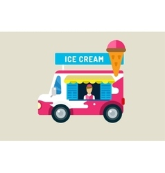 Ice cream car icon Cold milk product vanilla vector