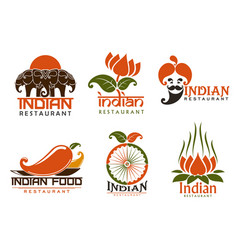indian cuisine icons and symbols vector image