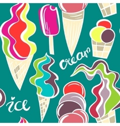 Juicy ice cream cones pattern vector